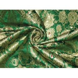 Heavy Silk Brocade Fabric Green,Red & Metallic Gold