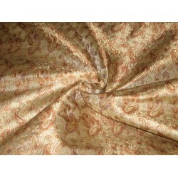 Silk Brocade Fabric Brown & Gold color