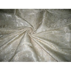 Heavy Silk Brocade Fabric Ivory,Metallic Gold & Cream