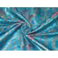 Heavy Silk Brocade Fabric Blue,Pink & Metallic motifs