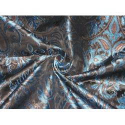 Heavy Silk Brocade Fabric Blue,Metalic Bronze & Black