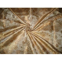Silk Brocade fabric Gold & Brown colour