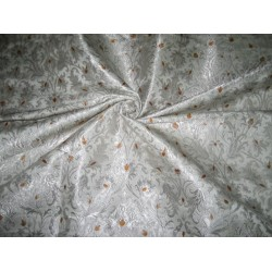 Heavy Silk Brocade Fabric Ivory,Metallic & Sandalwood