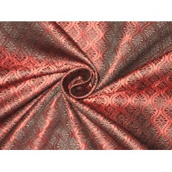 Brocade fabric Black & Wine Red Colour