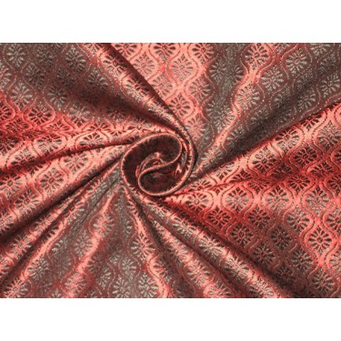"Brocade fabric Black & Wine Red Colour 44"" wide sold by the yard"