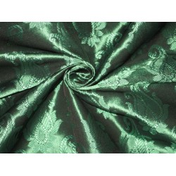 Spun Silk Brocade fabric Deep Emerald Green Color