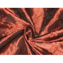 Spun Silk Brocade fabric Deep Red Color