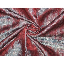 SILK BROCADE FABRIC Blue,Red &Cream