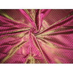 Silk Brocade fabric Pink & Green colour