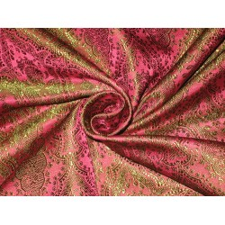 viscose Silk Brocade fabric Pink & Green colour 44""