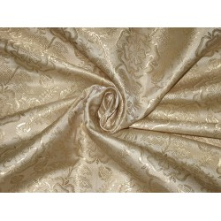 Silk Brocade fabric Golden Cream Colour
