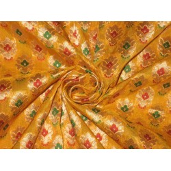 Silk Brocade Fabric Gold,Green,Red & Yellow