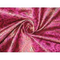 Silk Brocade fabric Pink,Green & Rusty Gold