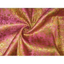 viscose/ SILK BROCADE FABRIC Pink,Gold & Green 44""