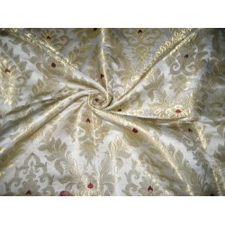 Heavy Silk Brocade Fabric Ivory,Wine & Metalic Gold