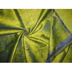 Silk Brocade Fabric Apple Green & Purple 44""