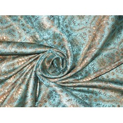 Silk Brocade Fabric Sea Blue,Gold & Brown 44""
