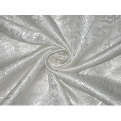 Silk Brocade Fabric White color 44""