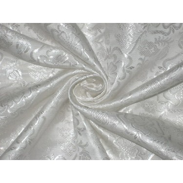 """Silk Brocade Fabric White color 44""""BRO129[6] by the yard"""