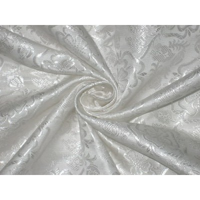 Silk Brocade Fabric White color 44