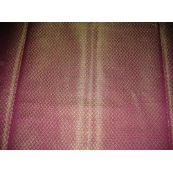 Silk Brocade Fabric Purple,Green & Metallic Gold