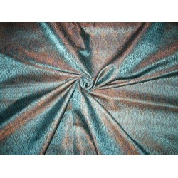 Silk Brocade fabric Blue,Brown & Purple 44""