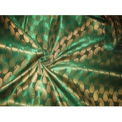 Silk Brocade fabric Green & Metallic Gold 44""