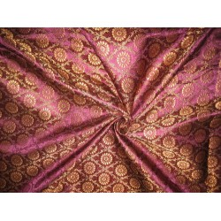 Silk Brocade fabric Purple,Red & Metallic Gold 44""