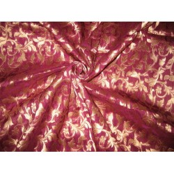 Silk Brocade fabric Purple & Metallic Gold 44""