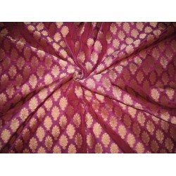 Silk Brocade Fabric Purple & Dull Gold Metallic