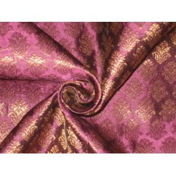 Silk Brocade fabric Metallic Gold & Purple