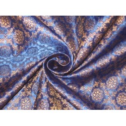 Silk Brocade fabric Metallic Gold & Blue