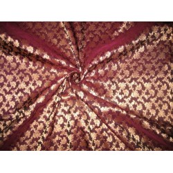 Brocade Fabric Aubergine & Gold Metallic