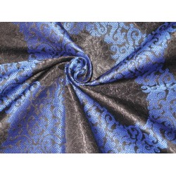 Heavy Pure Silk Brocade Fabric Royal Blue & Black 36""