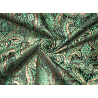 Heavy Pure Silk Brocade Fabric Green Bronze amp Black