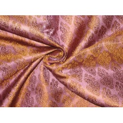 SILK Brocade Fabric Golden Brown & Pink x Lavender