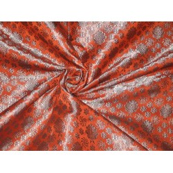 Silk Brocade fabric Orange & Silvery Blue 44""