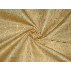 Silk Brocade fabric Cream & Light Gold 44""
