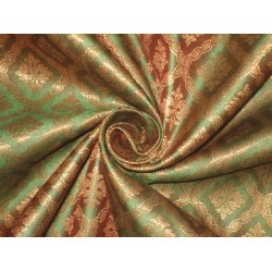 Spun Silk Brocade Fabric Metallic Gold & Iridescent Green 44""