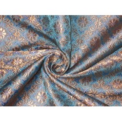 Silk Brocade Fabric Metallic Gold,Lavender & Blue 44""