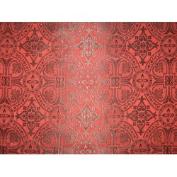 Silk Brocade Vestment Fabric Red & Black