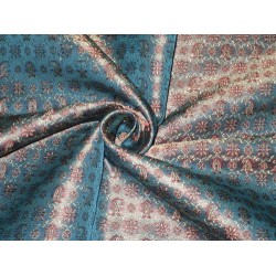 Silk Brocade Fabric Red,Gold & Blue color