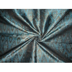 viscose SILK BROCADE FABRIC Blue,Brown & Black 44""