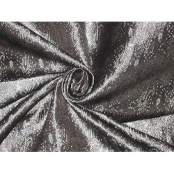 Silk Brocade fabric Black,Cream & Bluey Grey