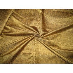 Silk Brocade Fabric Gold & Black Victorian 44""