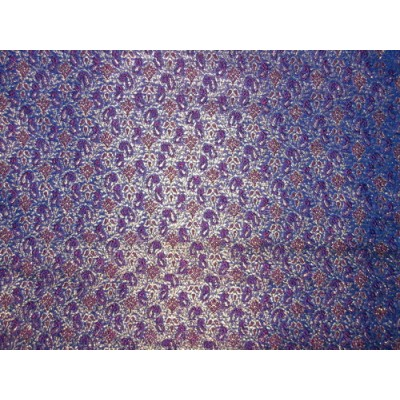 Silk Brocade Fabric BlueRed amp metallic Gold 44