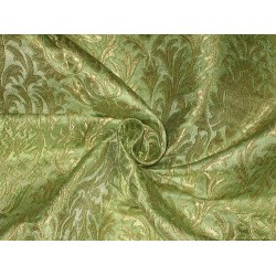 Pretty Silk Brocade Fabric Light Green & Gold color 44""