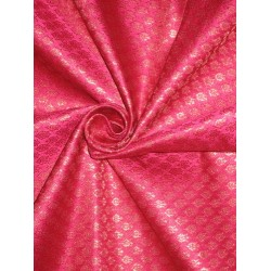 SILK BROCADE FABRIC Pink & Metallic Gold 44""