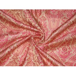 Silk Brocade Fabric Pale Pink & Shocking Pink 44""