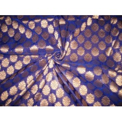 Pretty Silk Brocade Fabric Blue & Antique Metallic Gold semi sheer